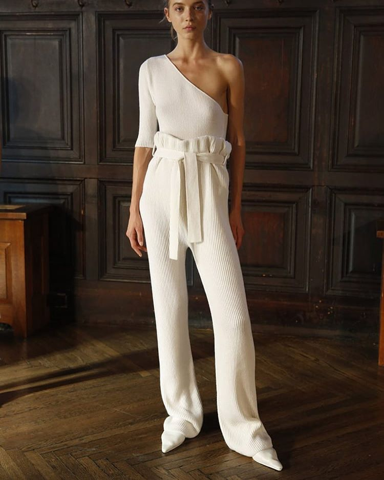 Ryan Roche white knitted outfit spring 2016